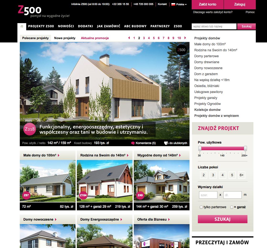 Screenshot: Die vorzüglich gemachte Website des Fertighaus-Anbieters Z500