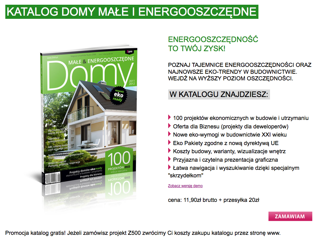 Screenshot: Werbung den Energiesparhaus-Katalog des polnischen Fertighausanbieters Z500