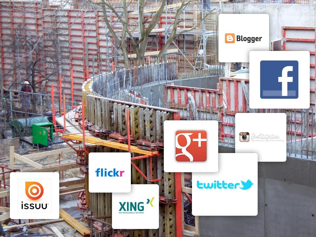 Von der Baustelle ins Netz: Architekten sollten Social Media nutzen! (Collage: Eric Sturm, Foto: Mr. Monk / aboutpixel.de)