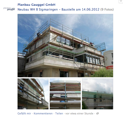 Baustellen-Fotos auf der Facebook-Seite von Planbau Gauggel