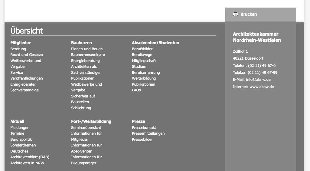 Screenshot: Am Ende jeder Seite wurden nützliche Links platziert. Sehr praktisch!