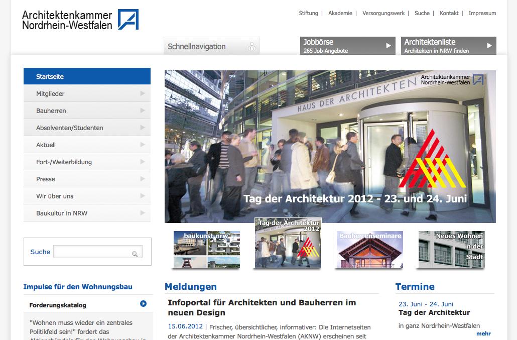 Screenshot: Die neue Website der Architektenkammer NRW (Ausschnitt)