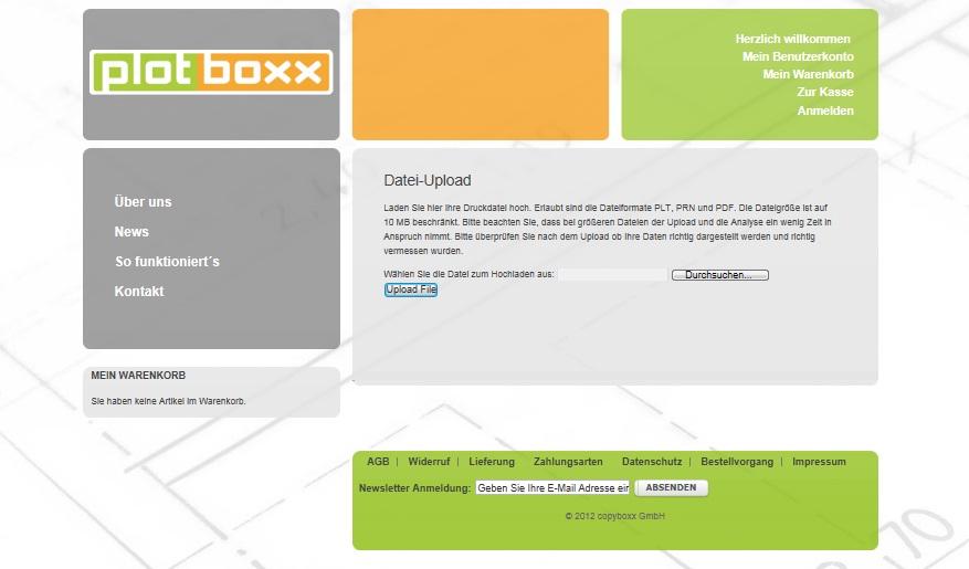 Screenshot: Hochladen der CAD-Datei auf plotboxx.de