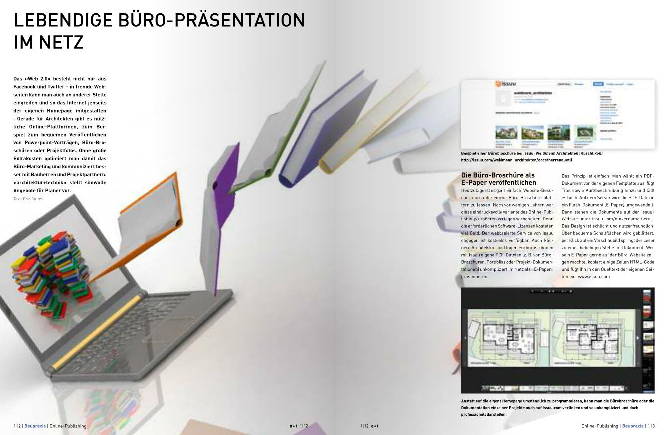 Screenshot: Der Artikel zur Büropräsentation im Internet in architektur + technik