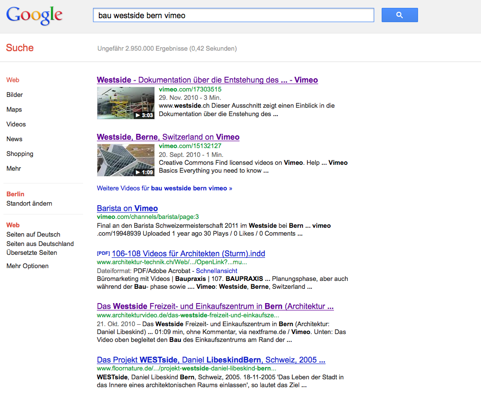 Screenshot: Videos werden in den Google-Suchergebnissen sehr prominent – mit Vorschaubild – platziert!