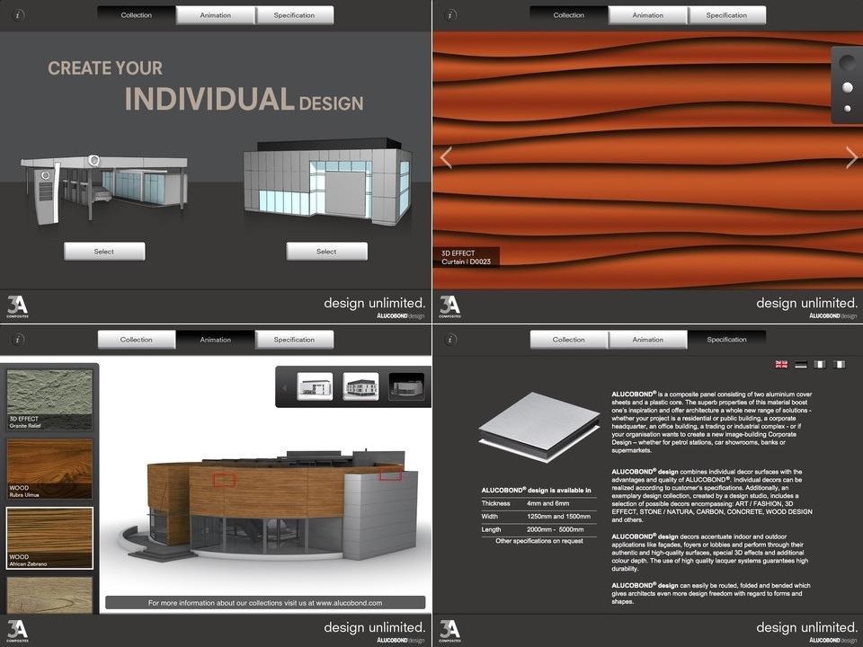 Vier Screenshots der ALUCOBOND design-App fürs iPad