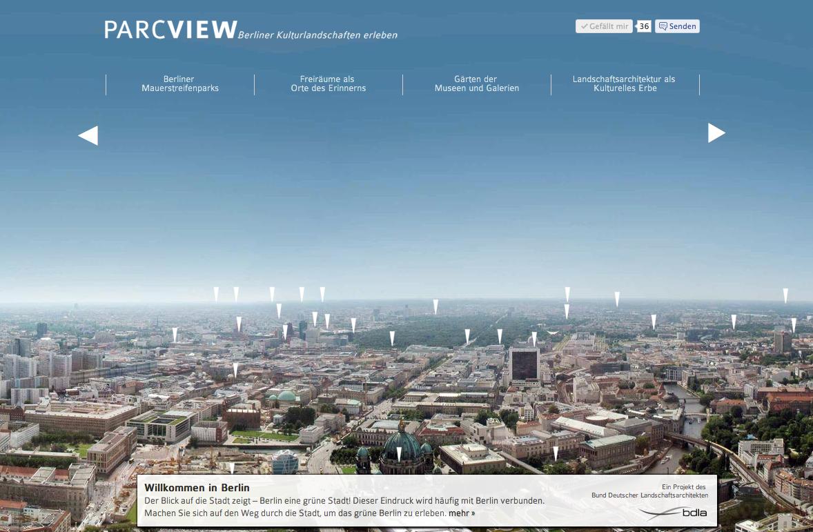 Screenshot: Die Startseite von ParcView.de mit Berlin-Panorama