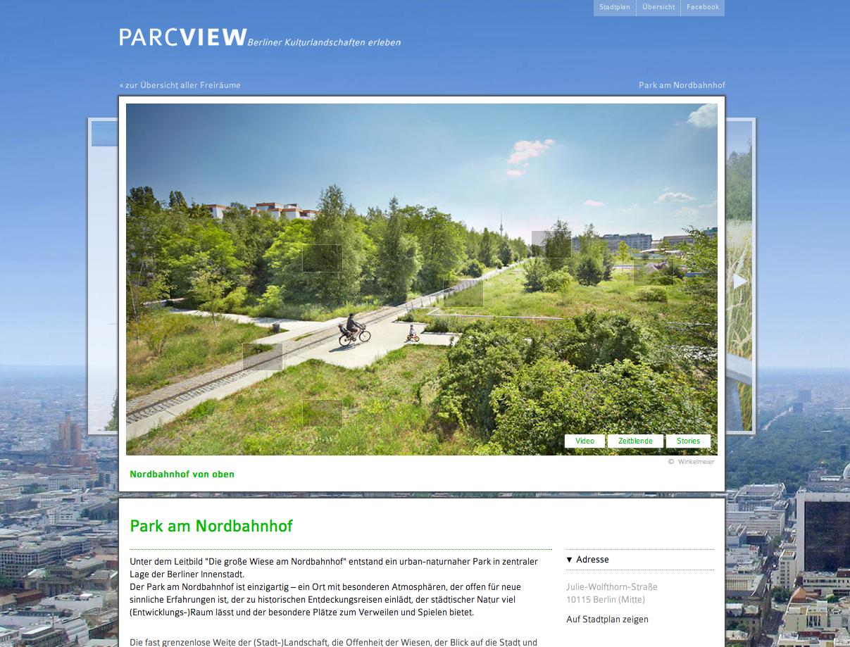 Screenshot: Der Park am Nordbahnhof auf ParcView.de