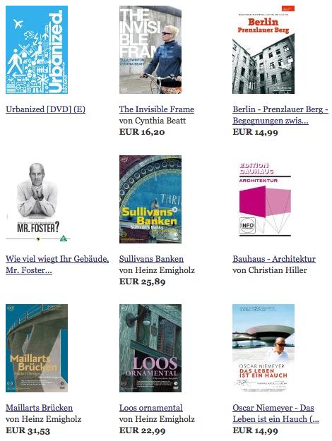 Screenshot: Architektur-DVDs im Online-Shop von architekturvideo.de (12/2012)