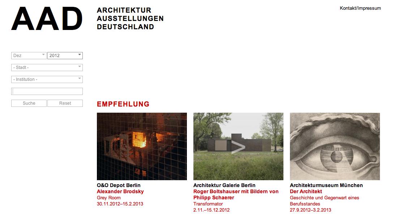 Aufgeräumtes Design: Screenshot der Website architektur-ausstellungen.de