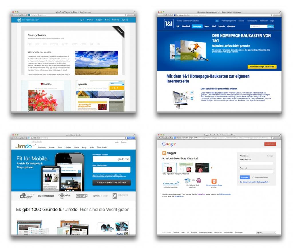 """Überblick: Vier Anbieter für kostengünstige """"Baukasten-Websites"""""""