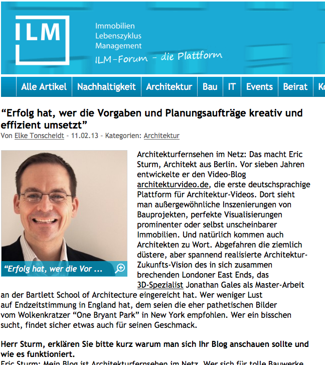 Screenshot des Interviews mit Eric Sturm auf ilmforum.de