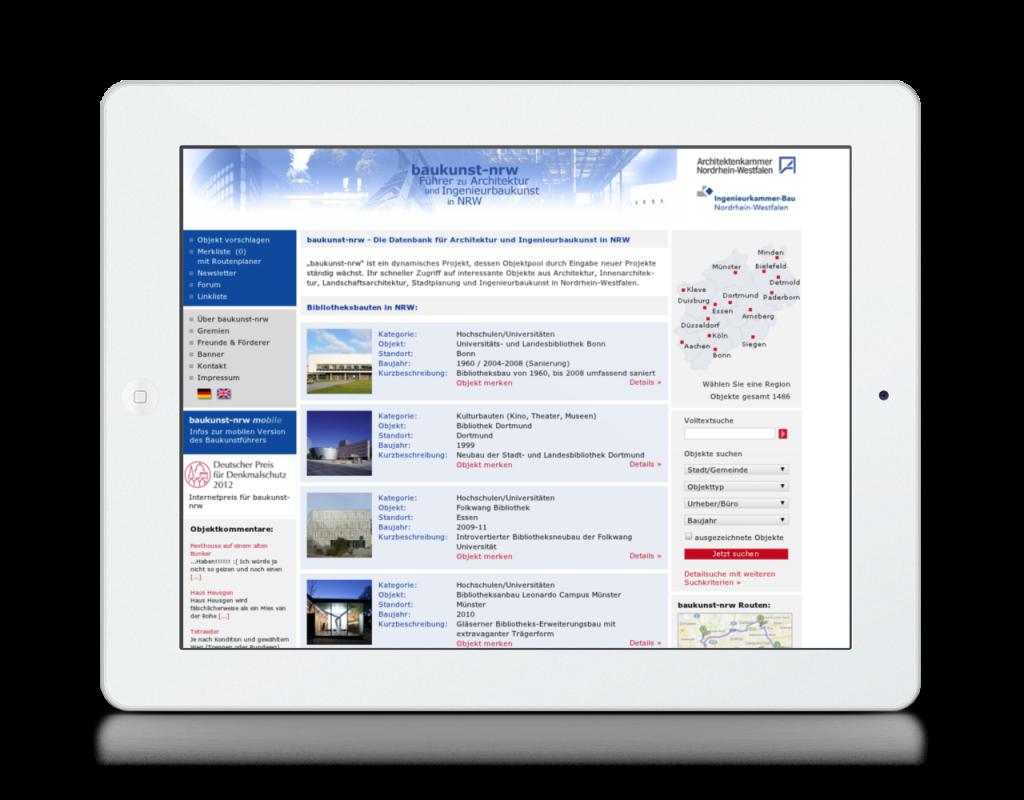 Screenshot von baukunst-nrw.de auf dem iPad