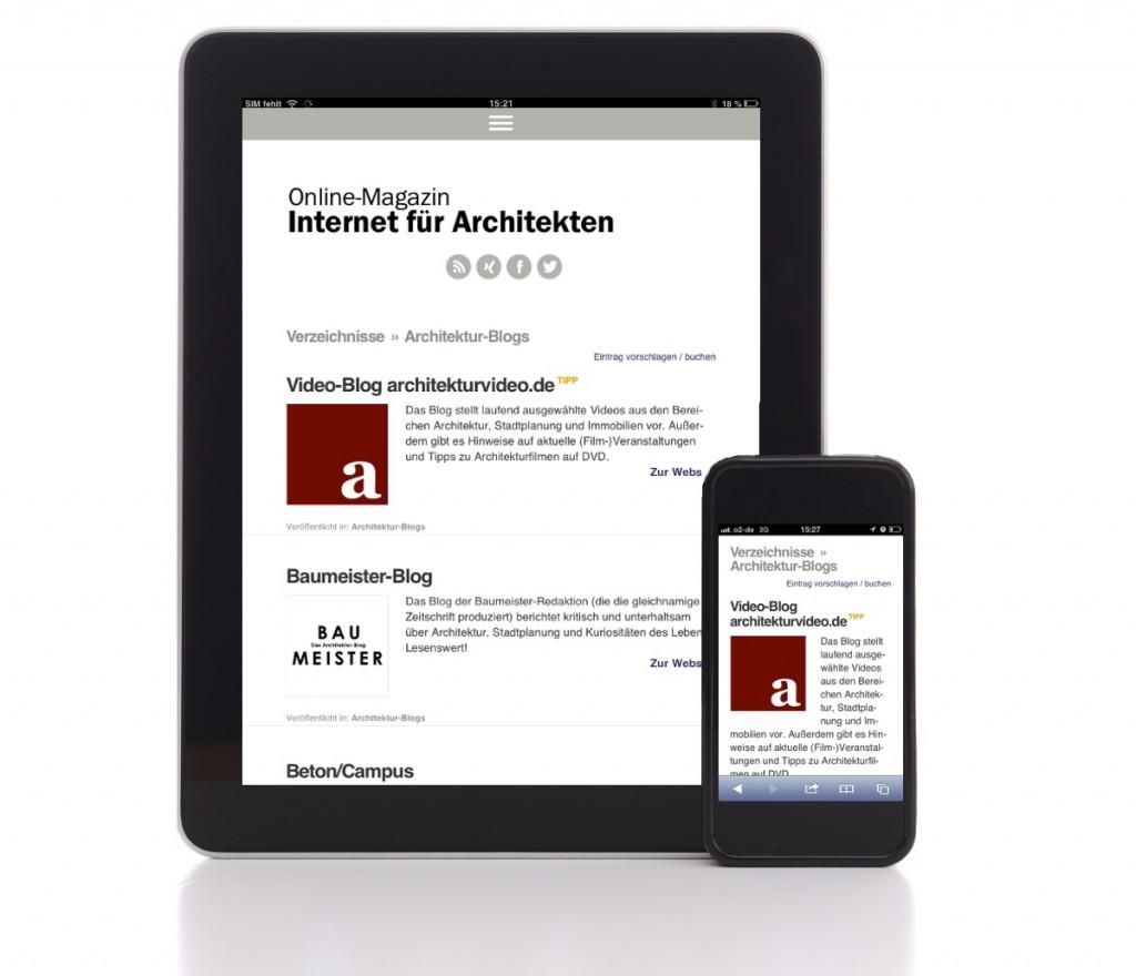 Eine Verzeichnisseite (hier: Architektur-Blogs) auf dem Tablet-PC und auf dem Smartphone