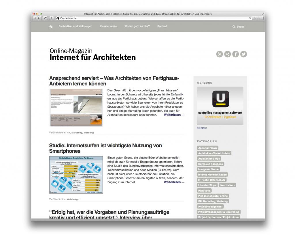 Die neue Startseite des Online-Magazins im Browser eines Laptop-Rechners.