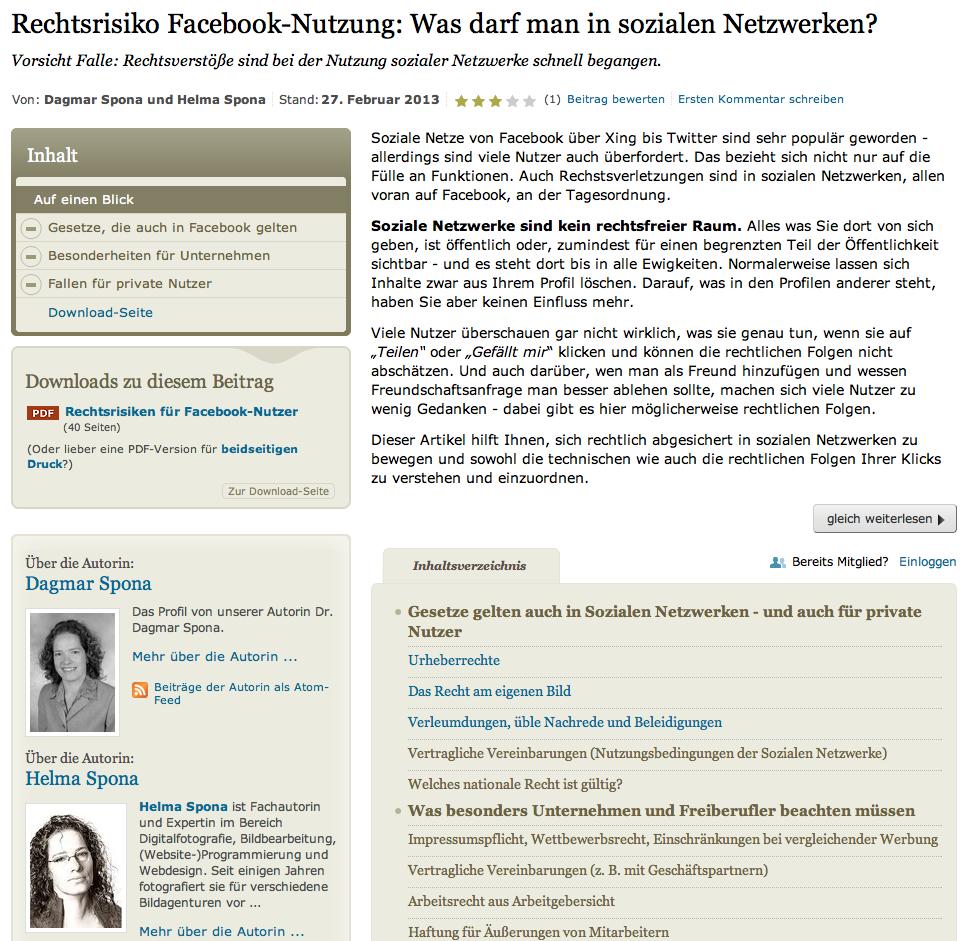 Screenshot des Beitrags über Datenschutz und Urheberrecht in Sozialen Netzwerken auf akademie.de