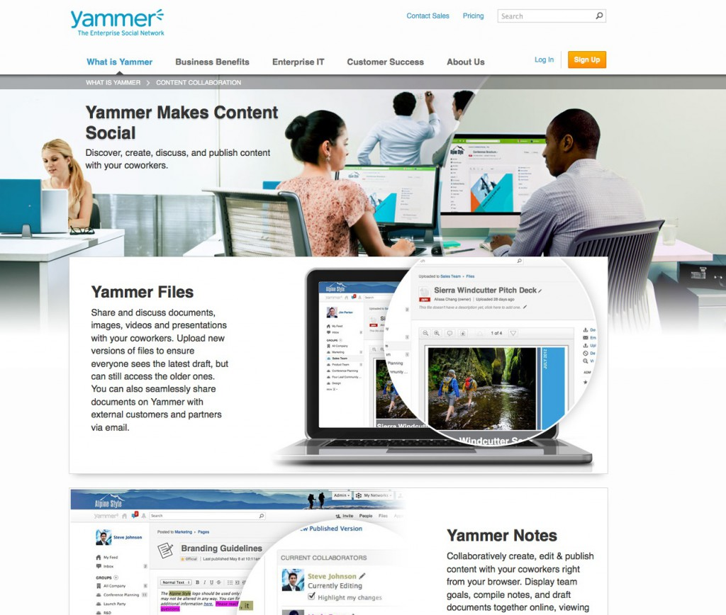 Social Intranet: Screenshot der Yammer-Website