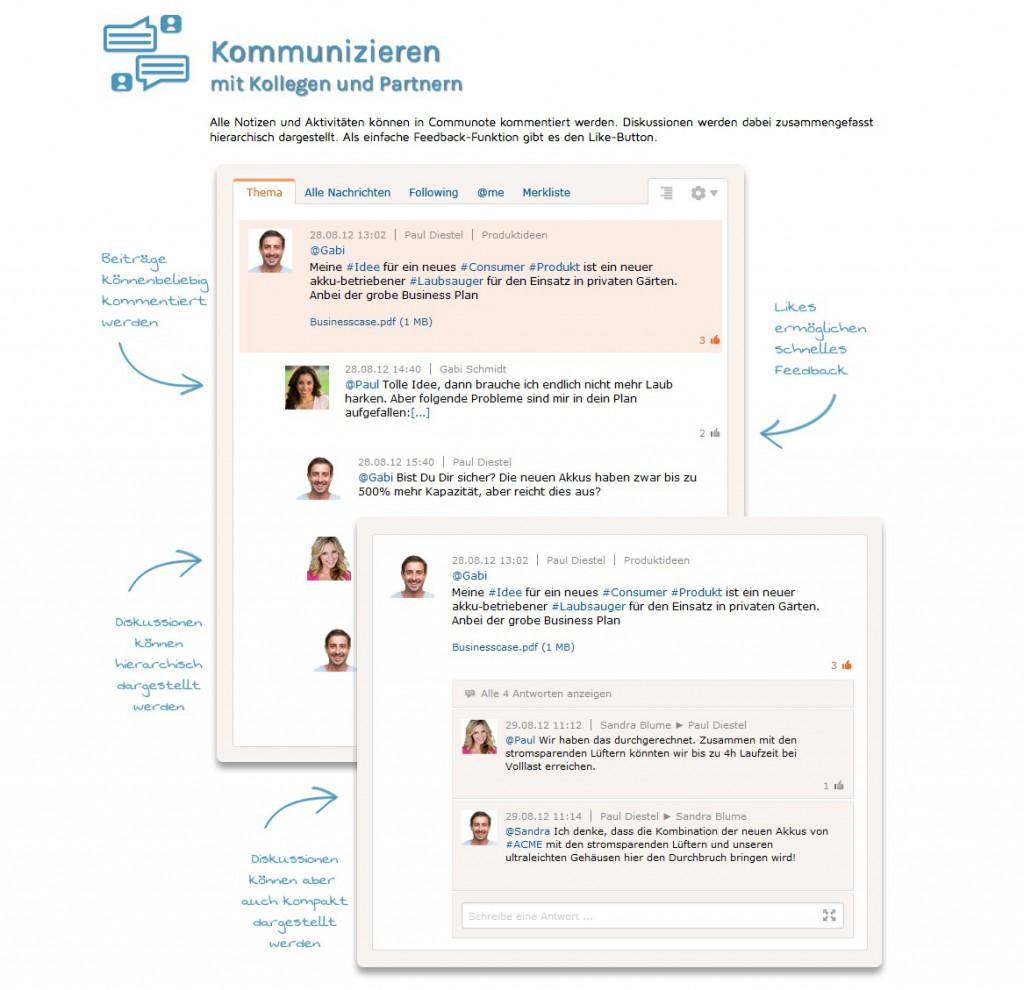 Social Intranet: Produkt-Screenshots auf der Website von Communote