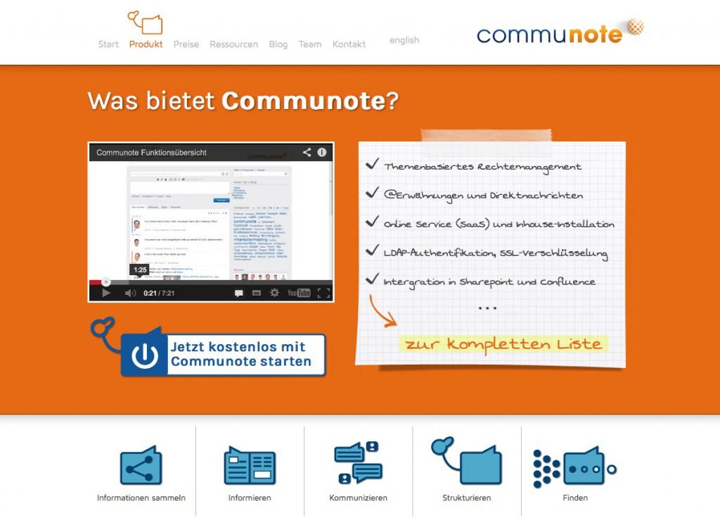Social Intranet: Screenshot der Website von Communote
