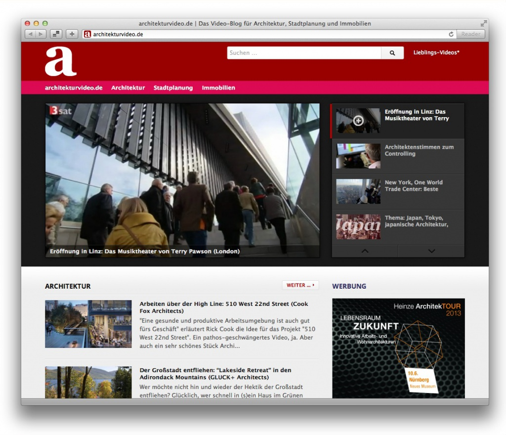 Screenshot des Architektur-Blogs architekturvideo.de im April 2013
