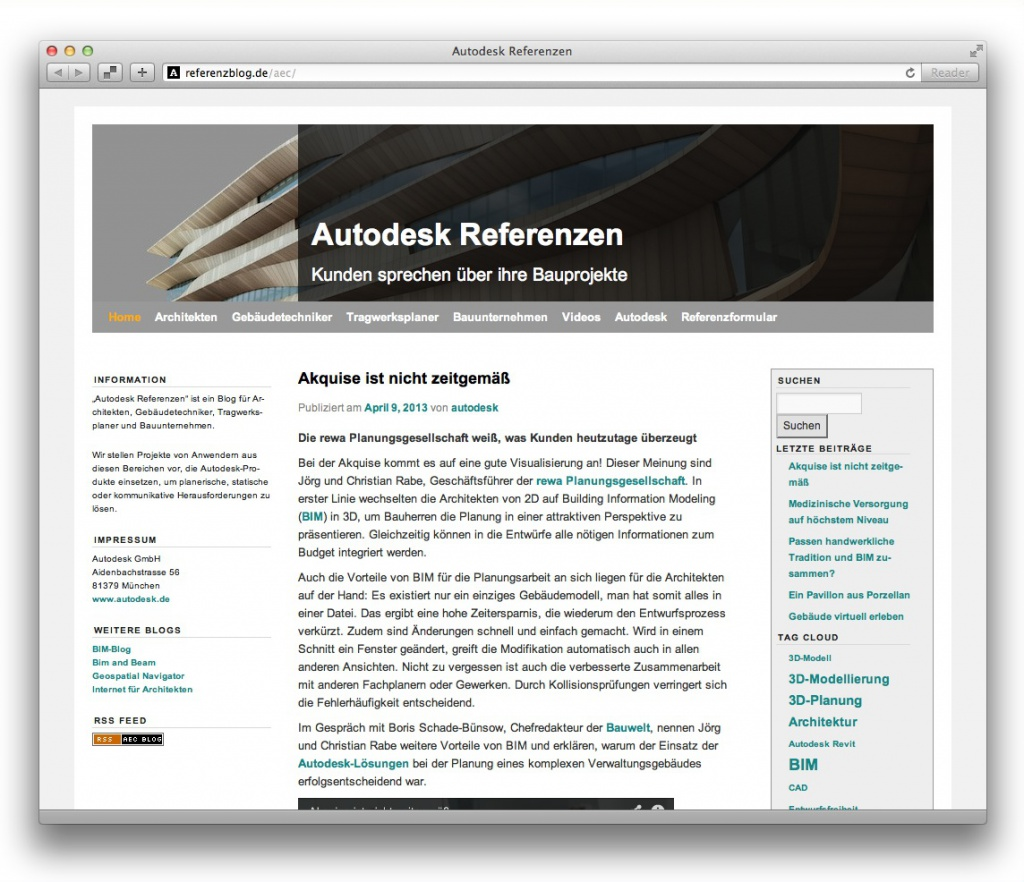 Screenshot des Autodesk Referenzen-Blogs