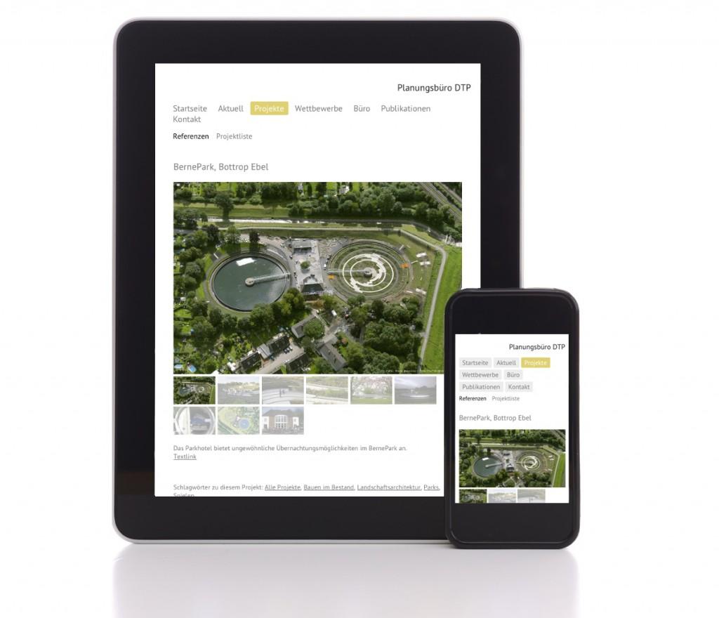 Mobiles Webdesign: Die Website der Landschaftsarchitekten DTP (Essen) auf dem Tablet-PC und auf dem Smartphone