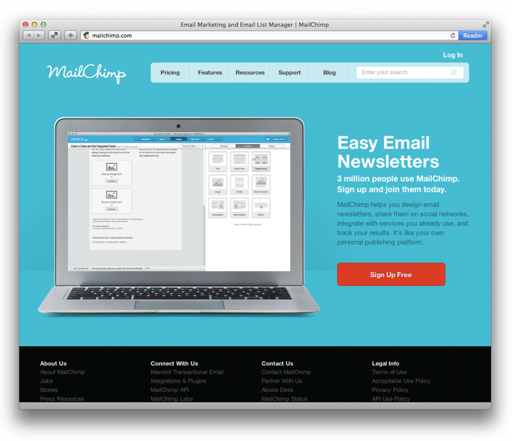 Screenshot von mailchimp.com