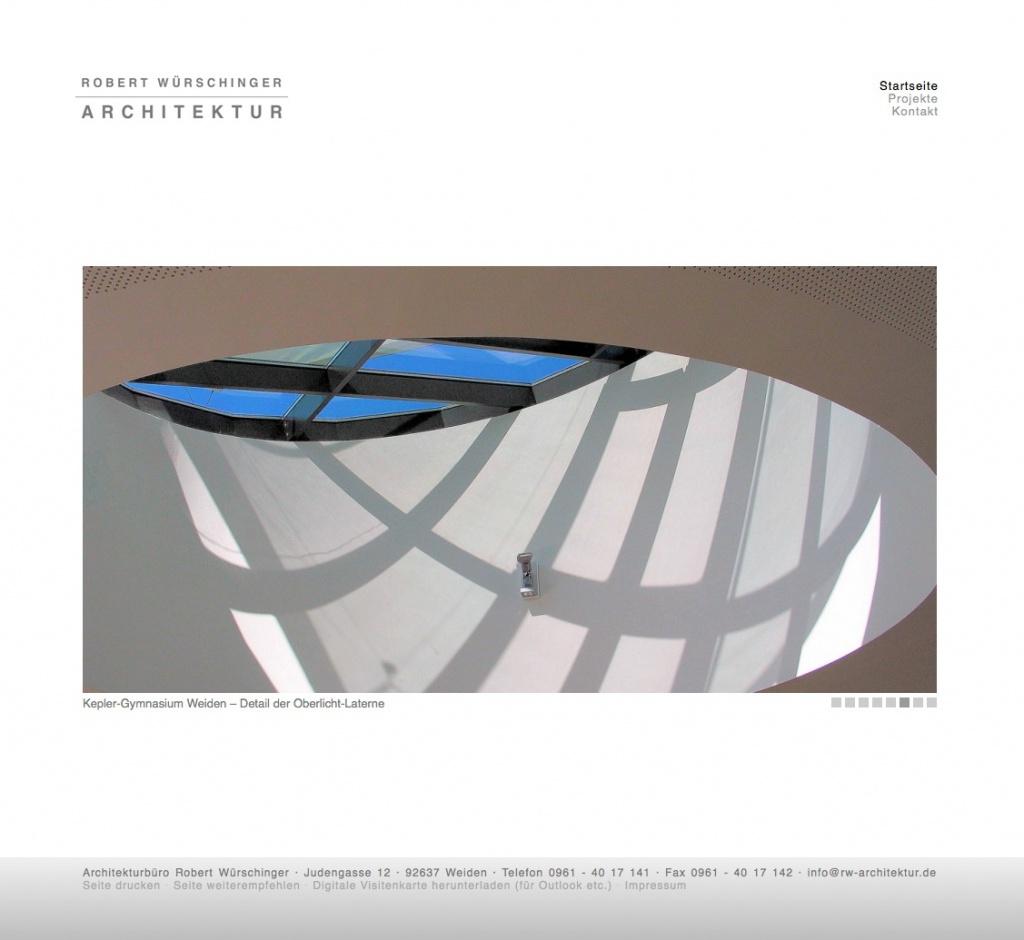 Screenshot der neuen Büro-Website (04/2013) von Architekt R. Würschinger aus Weiden