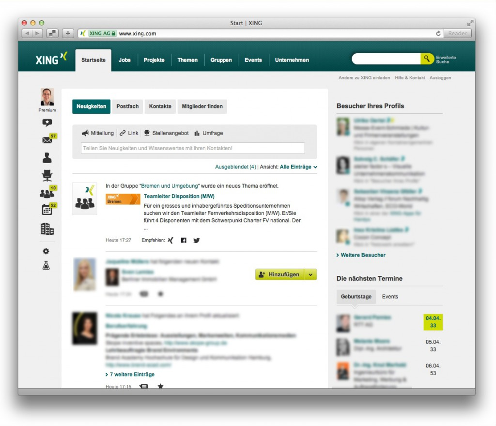 Screenshot der Startseite auf XING (Neuigkeiten eines eingeloggten Nutzers)