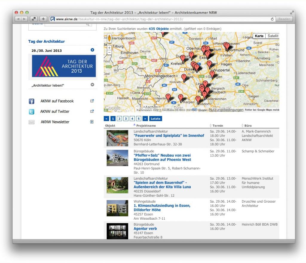 Die aktualisierte Datenbank zum Tag der Architektur 2013 auf aknw.de