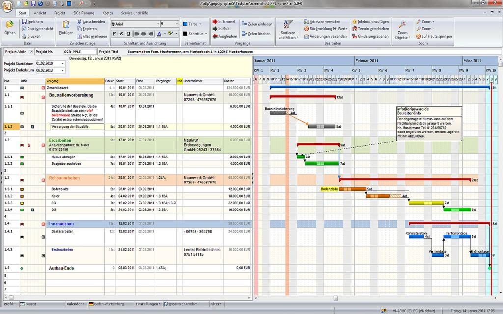Screenshot der Bauzeiten-Planungssoftware pro-Plan von Gripsware