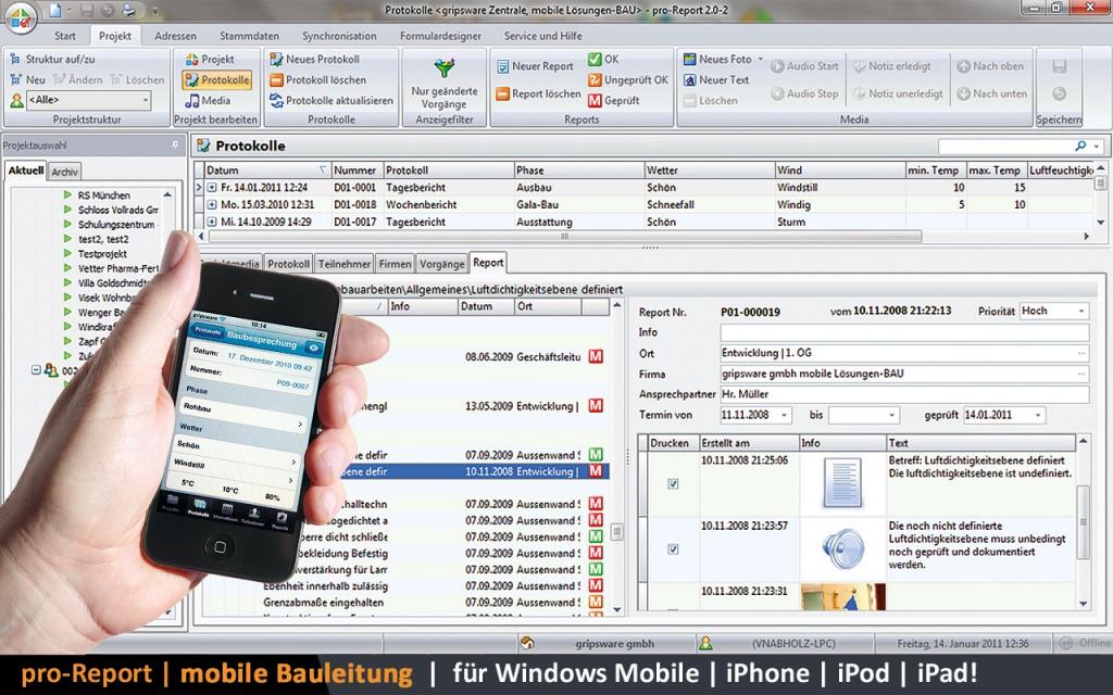 Screenshots von pro-Report, dem mobilen Bautagebuch, auf dem Smartphone und auf dem Desktop-PC