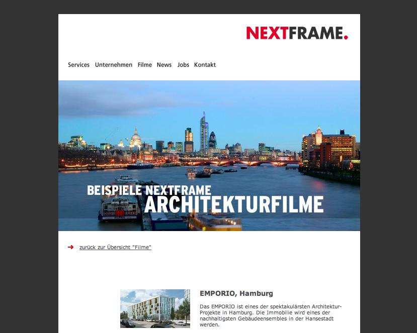 Screenshot von nextframe.de (Mai 2013)