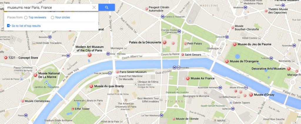 Eine Stadtplan-Ansicht von Paris (Screenshot der Vorschauseiten auf maps.google.com)