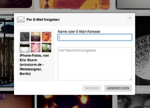 Flickr: Link zum Album per E-Mail versenden
