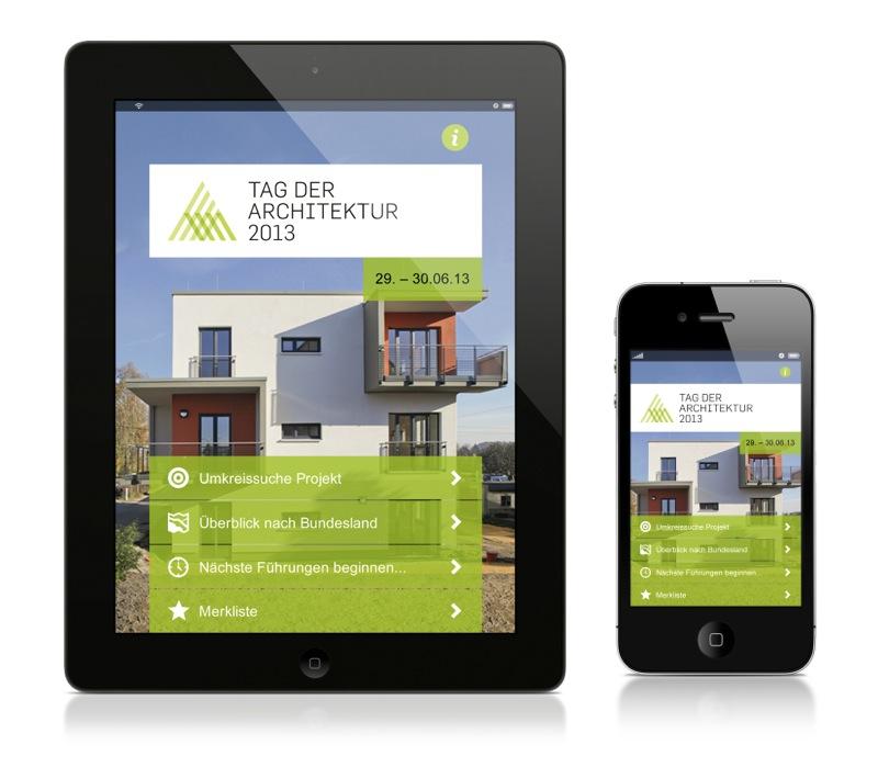 """Die neue App für den """"Tag der Architektur 2013"""" für Tablet-PC und Smartphone"""