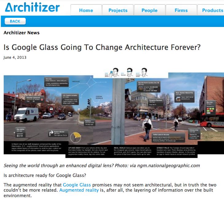 Screenshot des Beitrags über Google Glass und Architektur von Zachary Edelson auf Archititzer.com