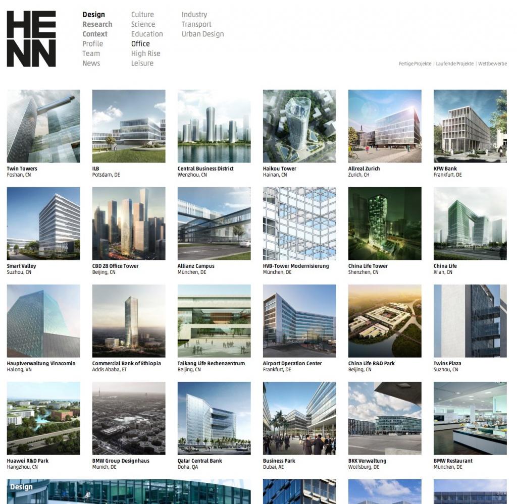 Viele Projekte, viel Überblick: Projektübersichtseite auf henn.com