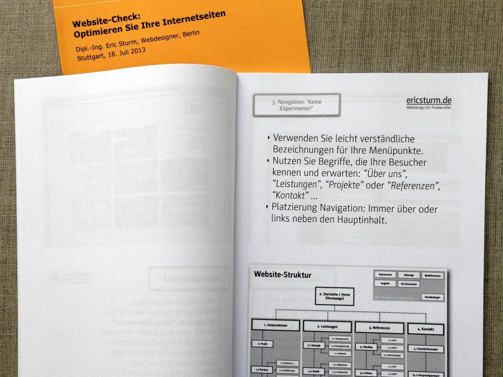 """Die Teilnehmerunterlagen des ifbau-Seminars """"Website-Check"""""""