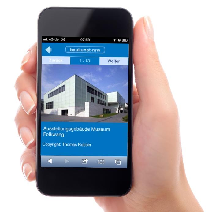 baukunst-nrw: Architektursuche per App auf dem Smartphone (hier das Folkwang-Museum in Essen)