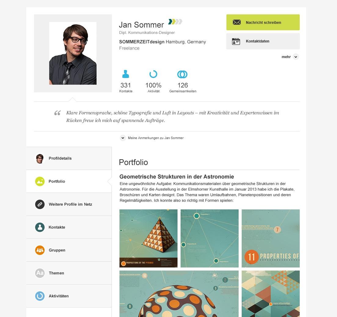 Screenshot eines Beispiel-Profils im neuen Design auf XING (Juli 2013)