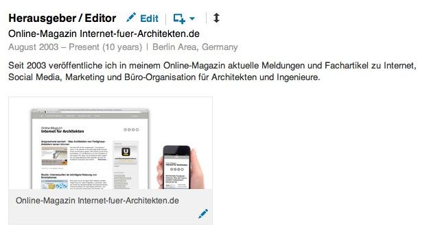 Screenshot: Hochgeladene Grafik im LinkedIn-Profil von Eric Sturm
