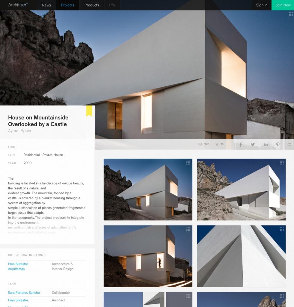 Beispiel für eine Projektseite auf architizer.com (Screenshot vom 29.07.2013)