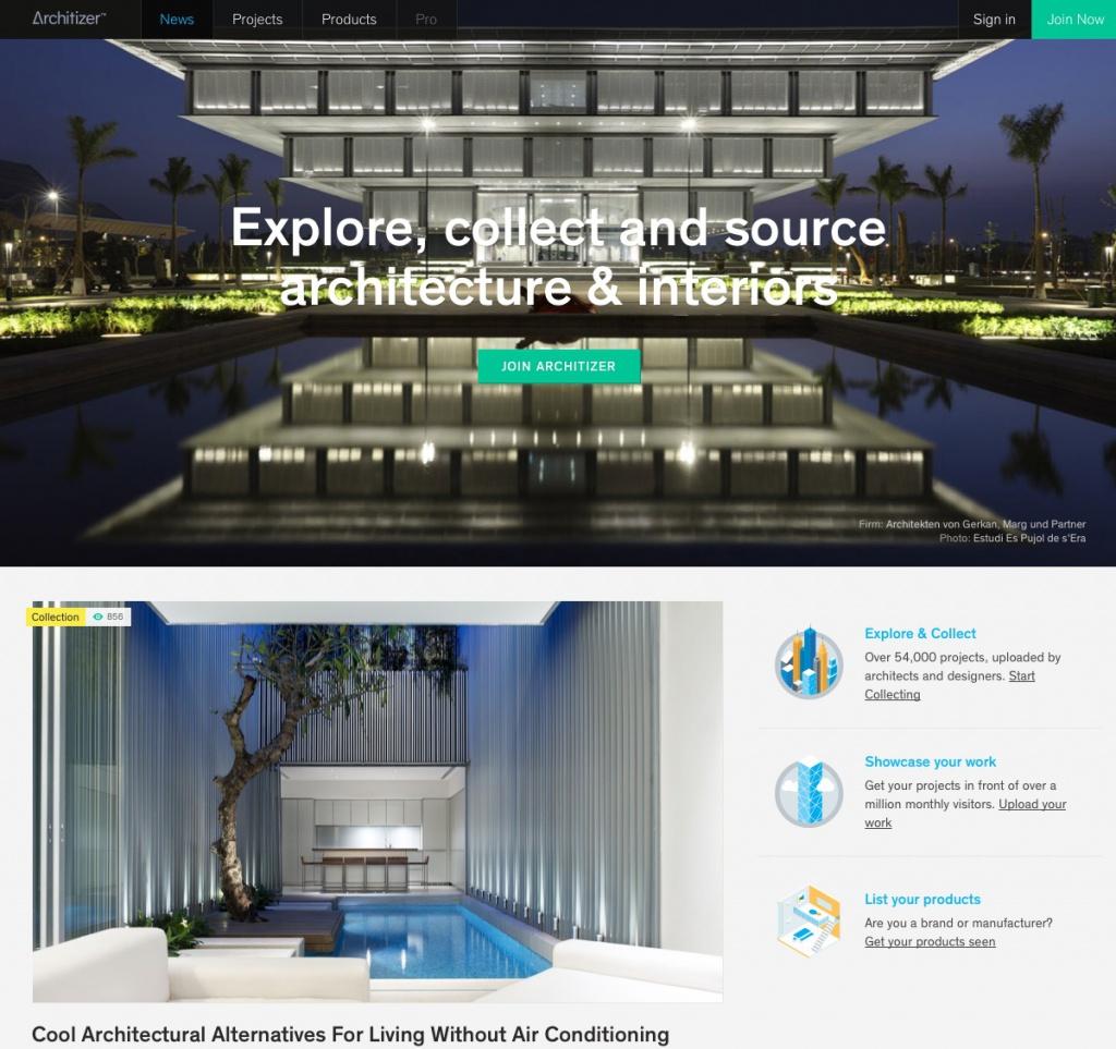 Die neue Startseite von architizer.com (Screenshot 29.07.2013)