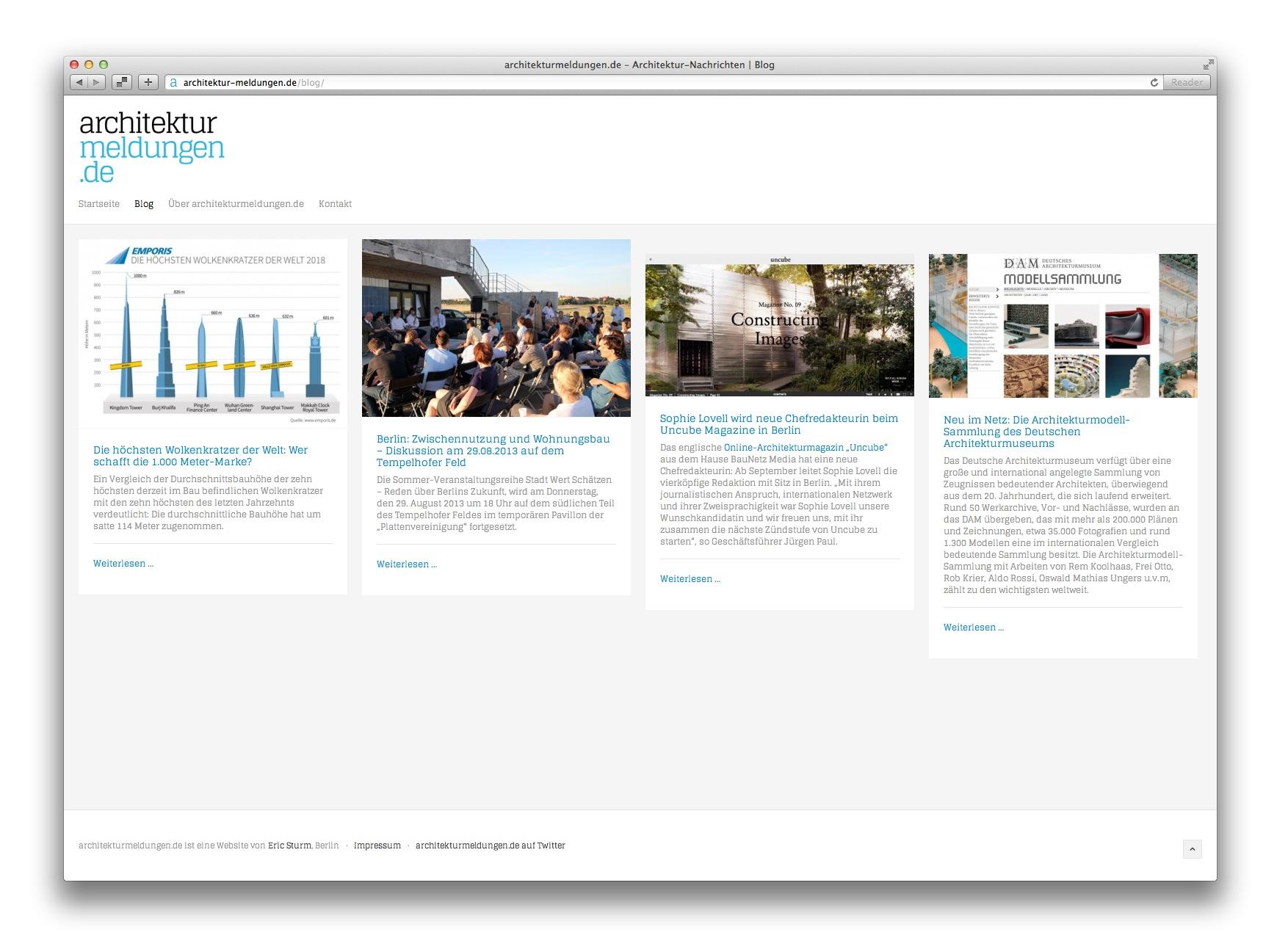 Das neue Architektur-Blog auf architekturmeldungen.de (Screenshot August 2013)