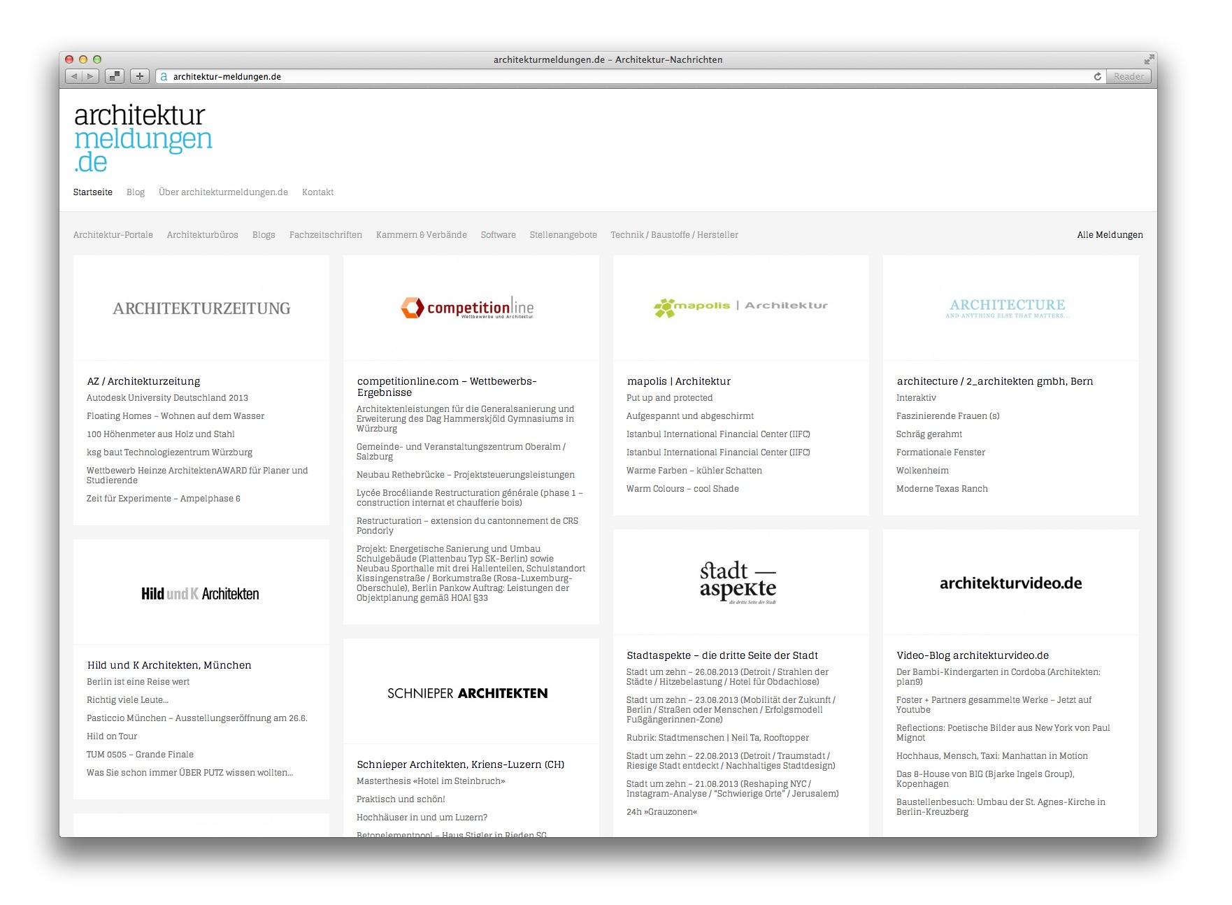Screenshot der neuen Startseite auf architekturmeldungen.de (August 2013)