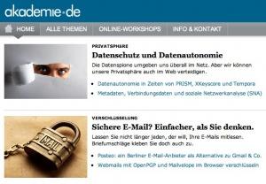 Datenschutz und Datenautonomie – Screenshot der Startseite von akademie.de (August 2013)