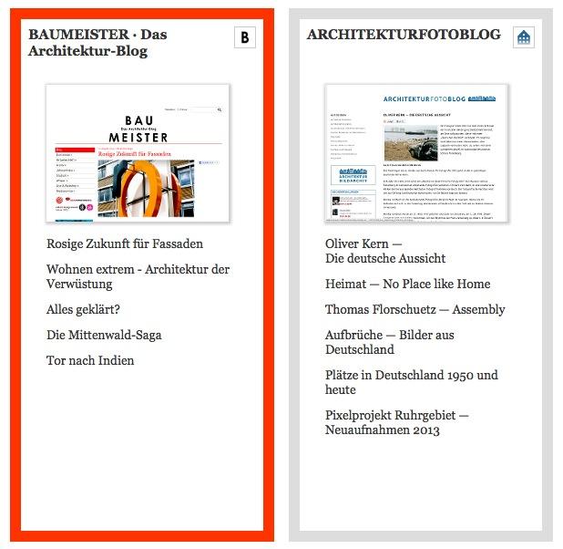 Die Architektur-Blogs BAUMEISTER und das ARCHITEKTURFOTOBLOG auf architekturmeldungen.de (Screenshot)