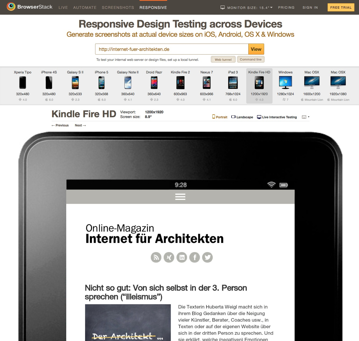 Screenshot des Test-Tools für responsive Webdesign von Browserstack: Internet-fuer-Architekten.de auf dem Amazon Kindle Fire