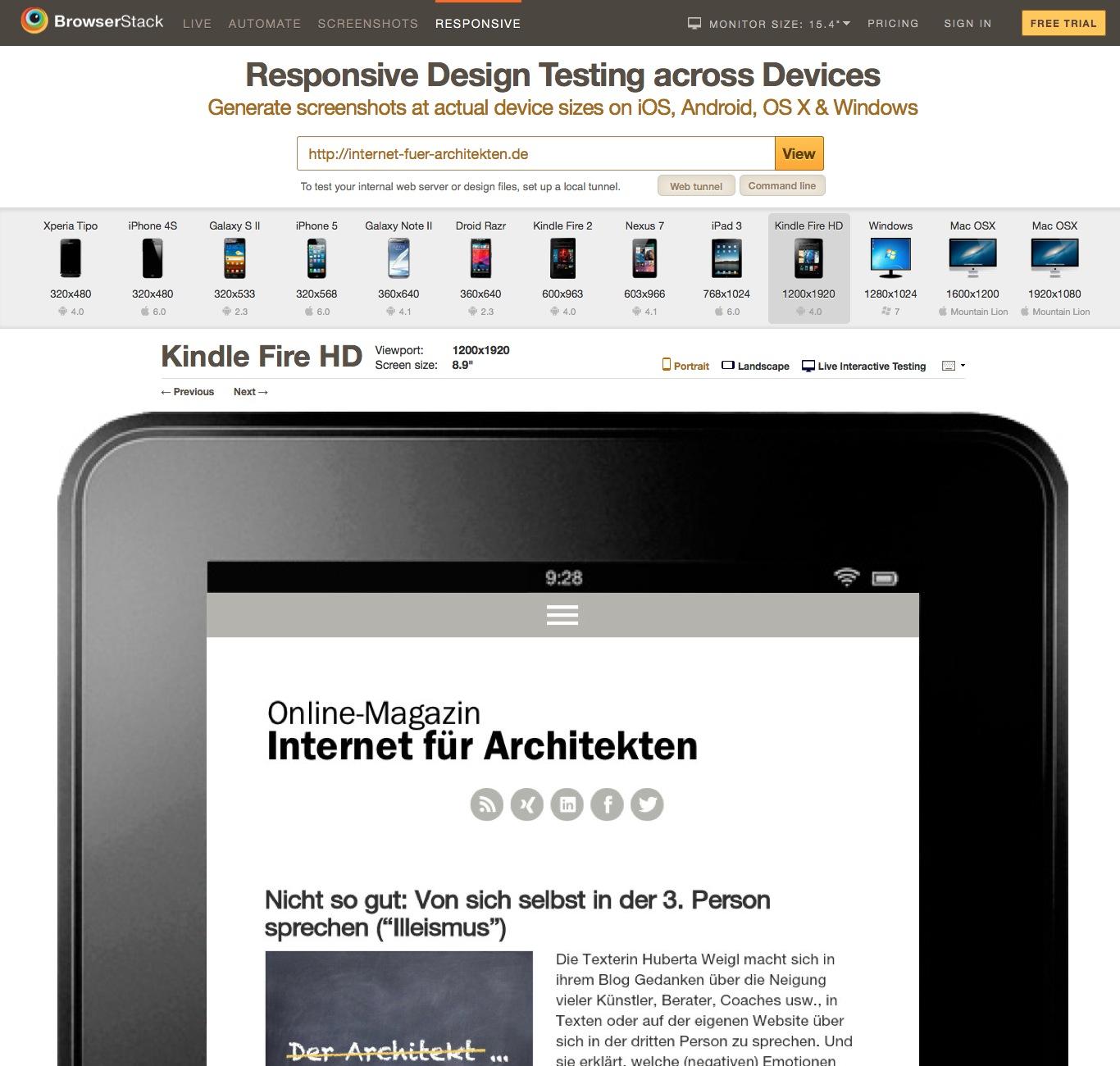 Screenshot des Test-Tools für responsive Webdesign von Browserstack: Internet-fuer-Architekten.de auf dem Amazon Kindle Fire
